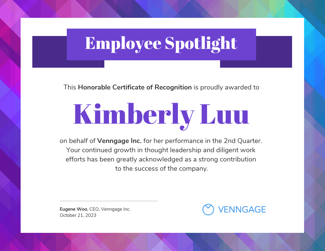 Employee Spotlight Certificate Of Recognition Template Intended For Leadership Award Certificate Template