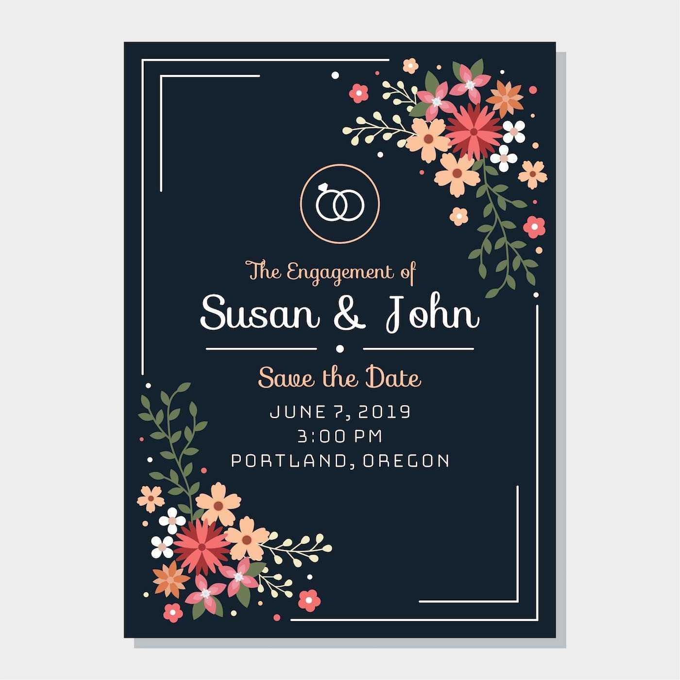 Engagement Invitation Free Vector Art - (888 Free Downloads) In Engagement Invitation Card Template