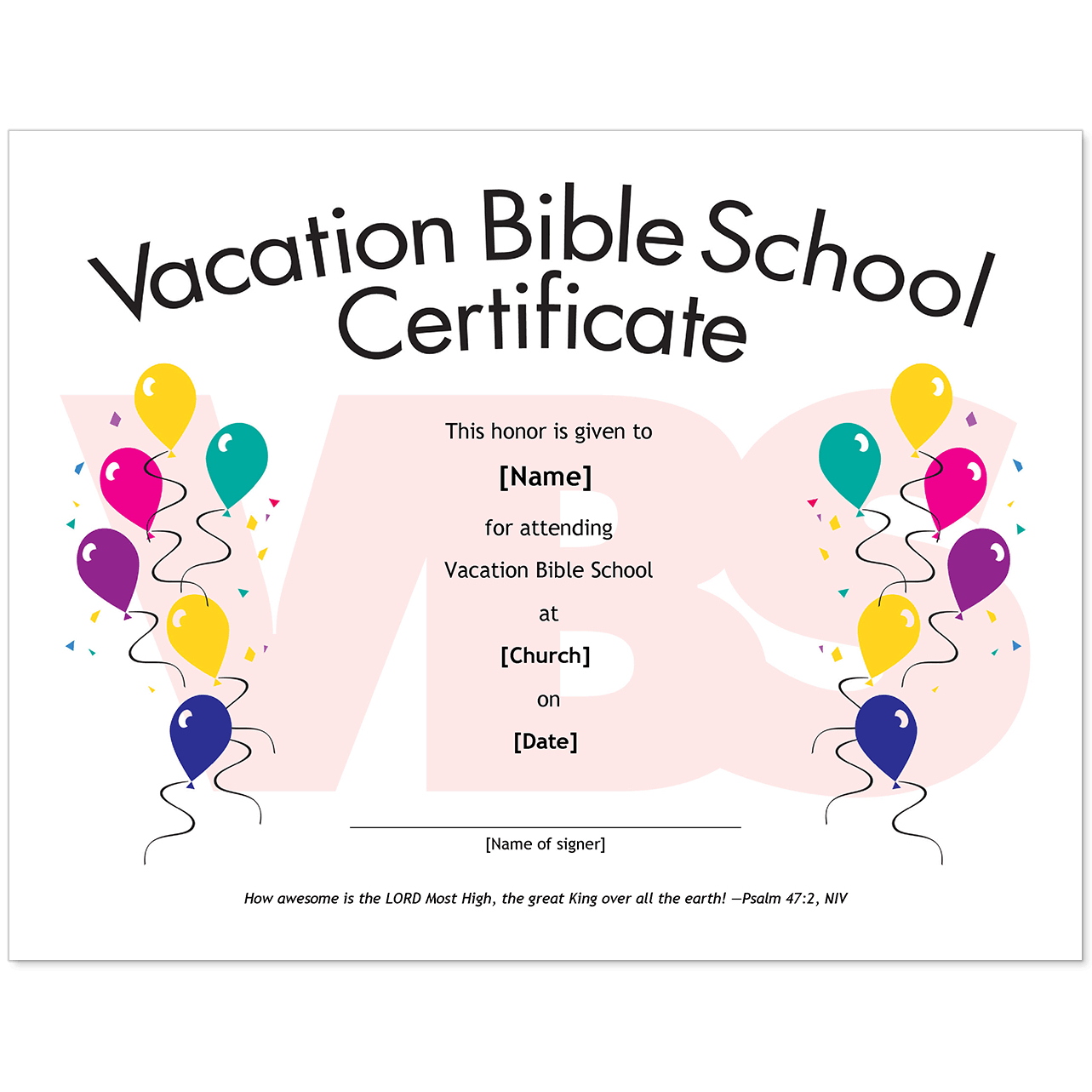 Essential Church Certificates - Children's Edition In Vbs Certificate Template