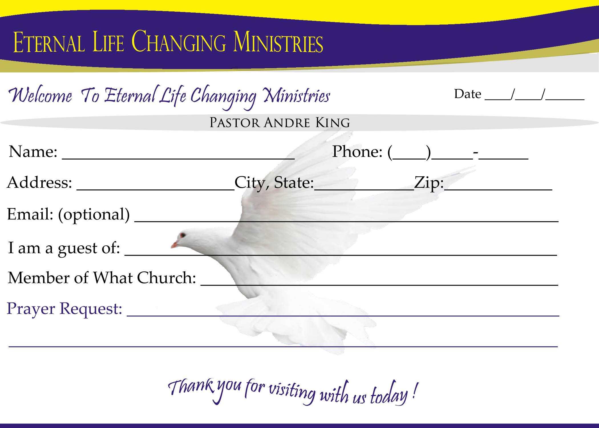 Eternal Life Visitor Card B | Creative Kingdom Designs Throughout Church Visitor Card Template Word