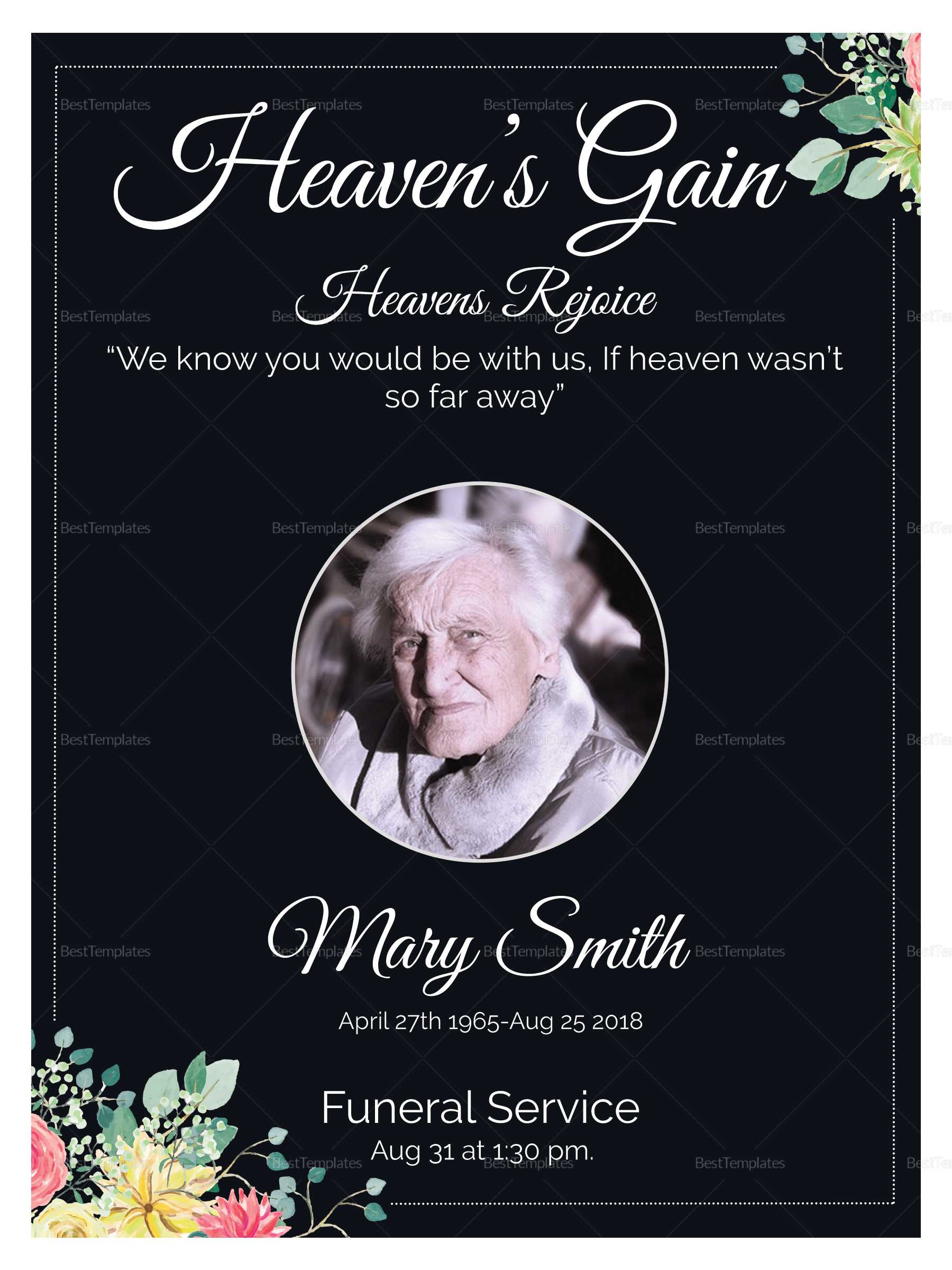 Eulogy Funeral Invitation Card Template Regarding Funeral Invitation Card Template