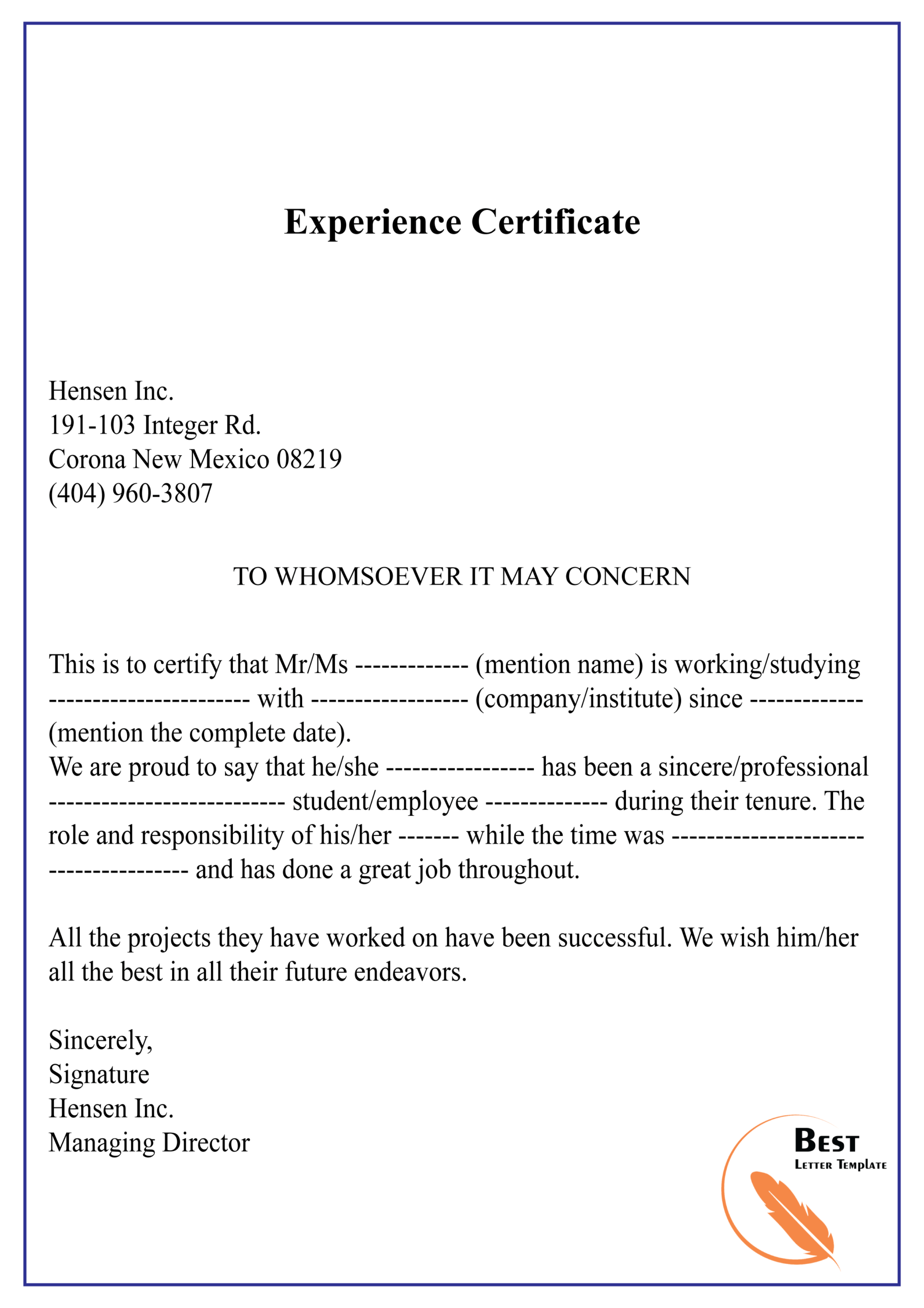 Experience Certificate 01 | Best Letter Template Within Template Of Experience Certificate