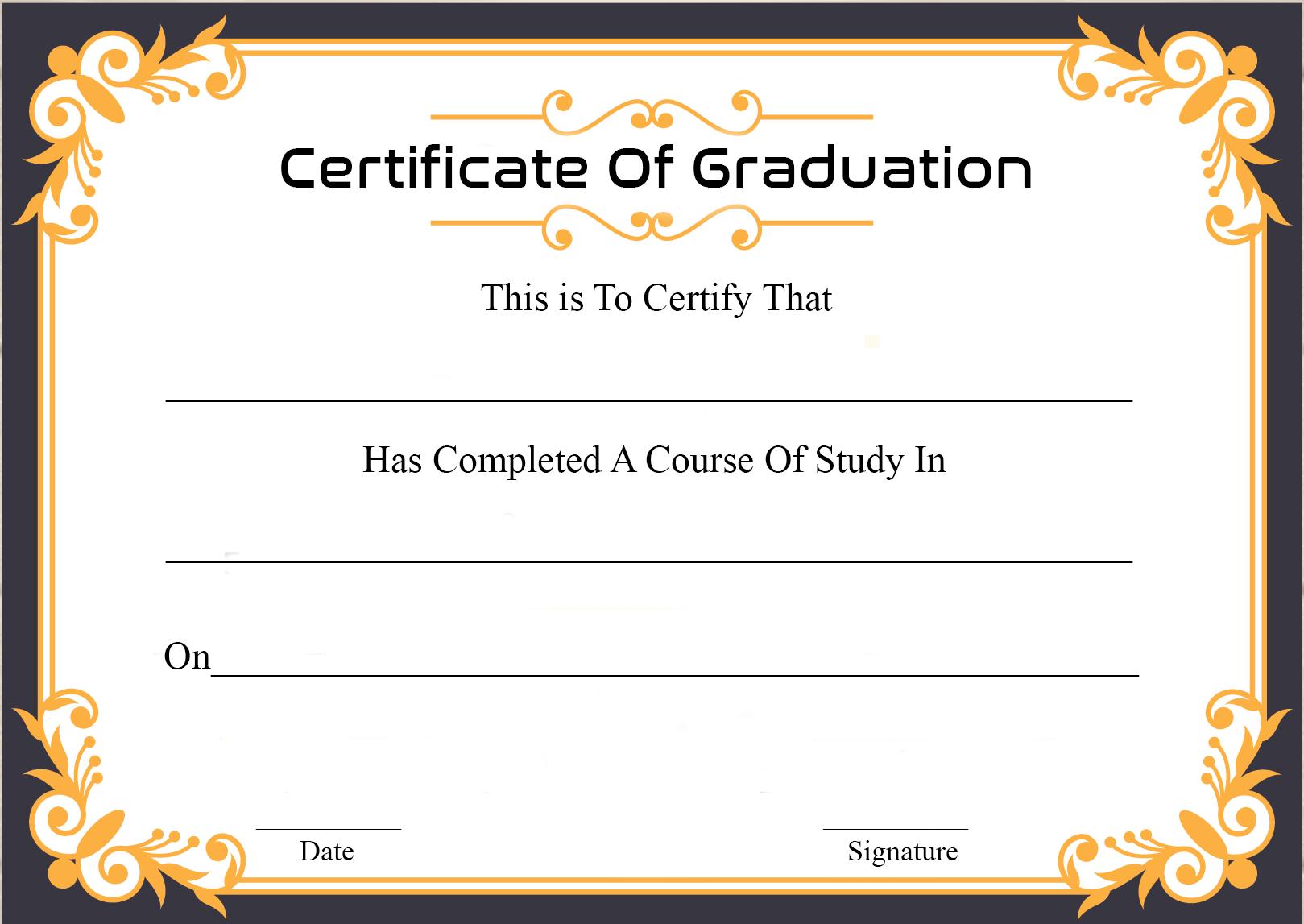🥰free Certificate Template Of Graduation Download🥰 Intended For Graduation Certificate Template Word