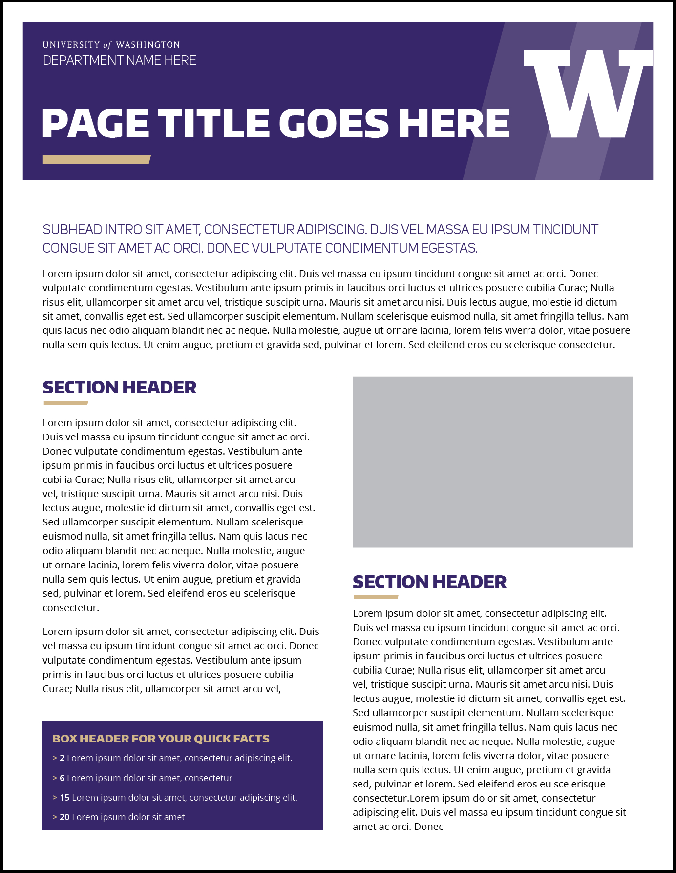 Fact Sheet | Uw Brand In Fact Card Template
