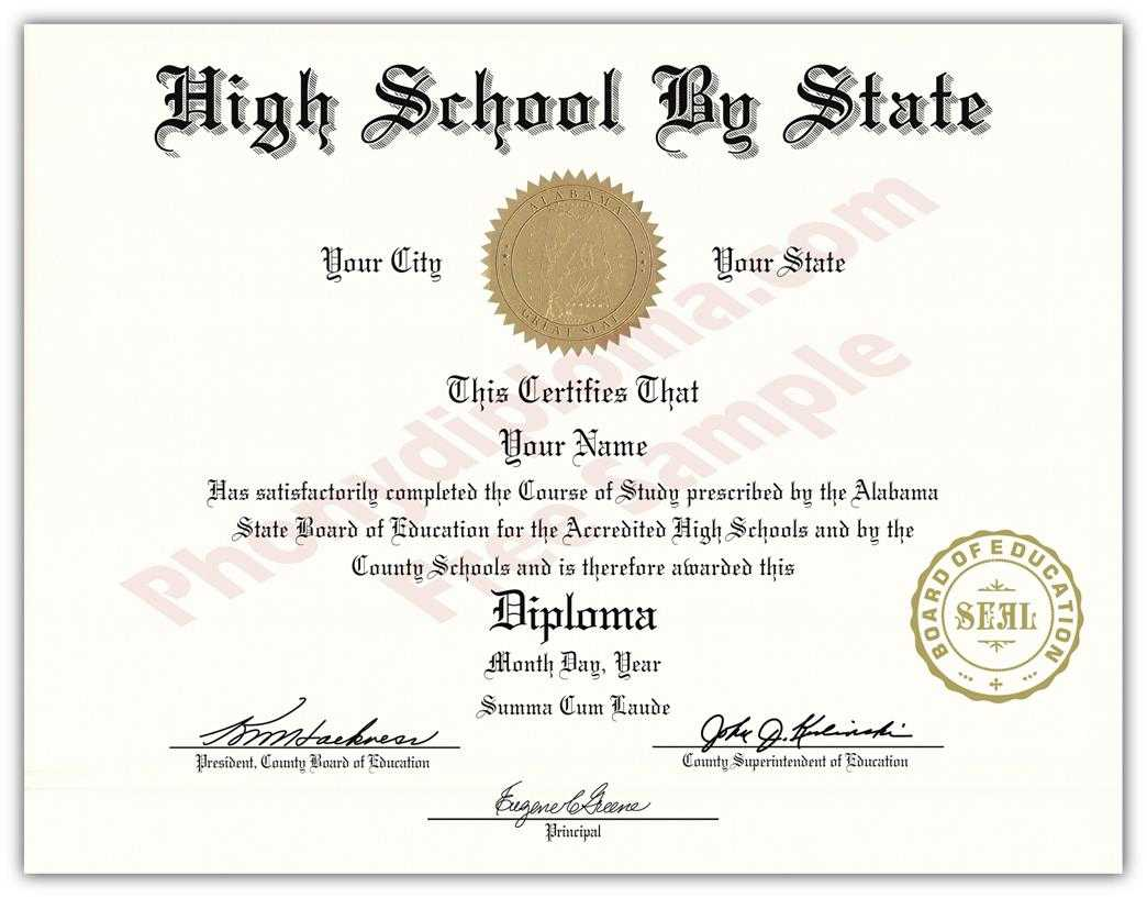 Fake High School State Design Diplomas - Select A State Intended For Fake Diploma Certificate Template