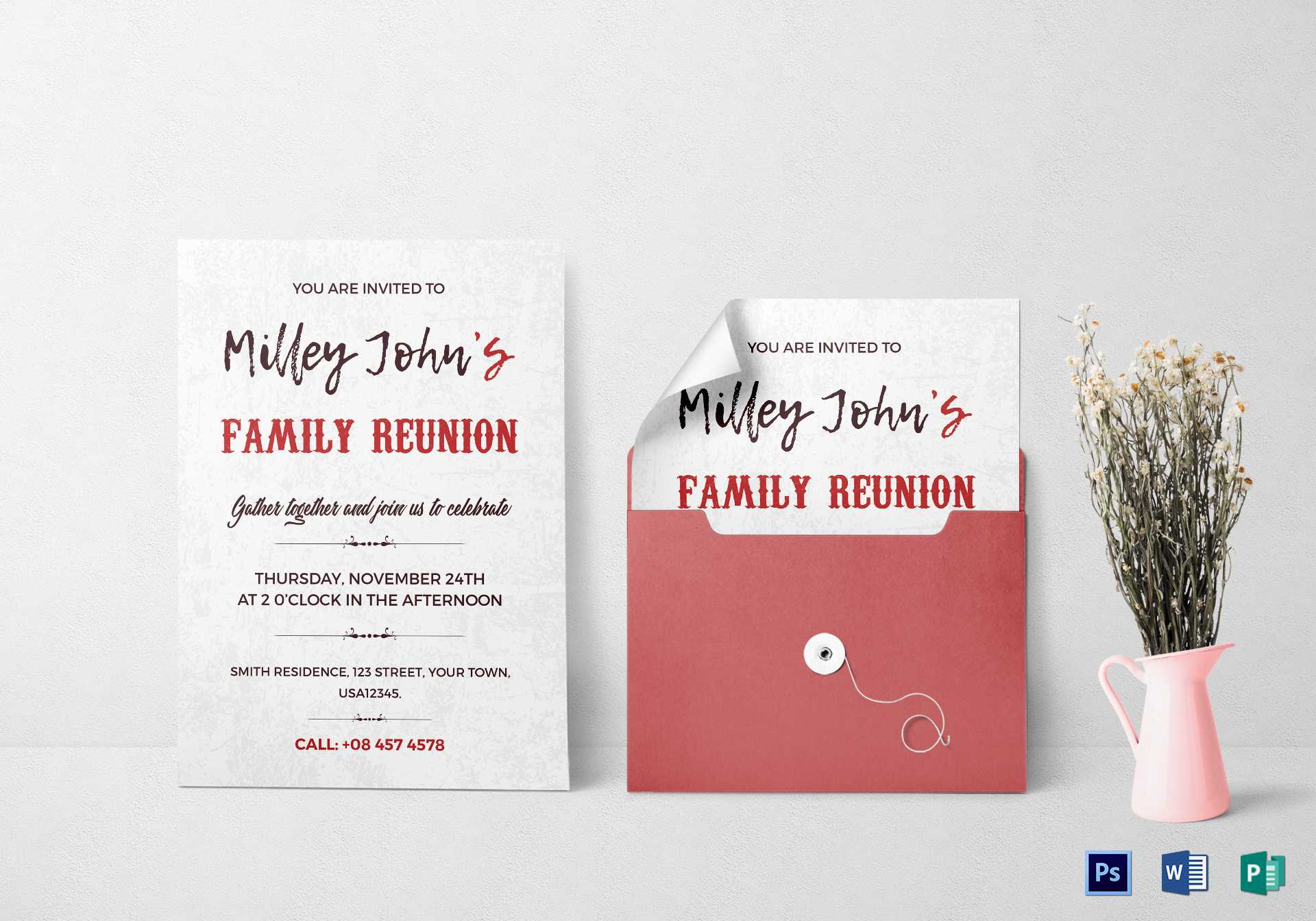 Family Reunion Invitation Card Template Regarding Reunion Invitation Card Templates