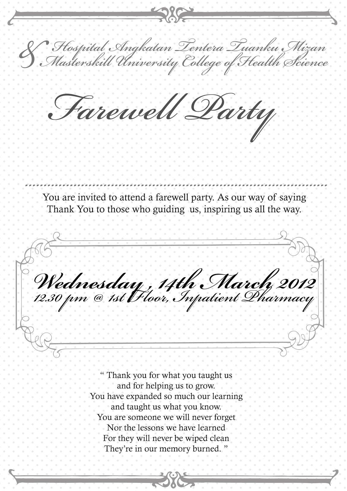 Farewell Party Invitation Cards For Farewell Invitation Card Template