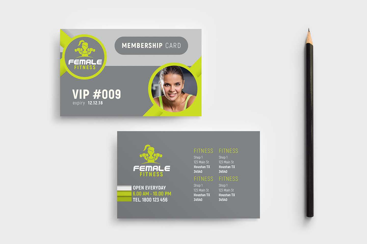 Female Fitness Membership Card Template In Psd, Ai In Gym Membership Card Template