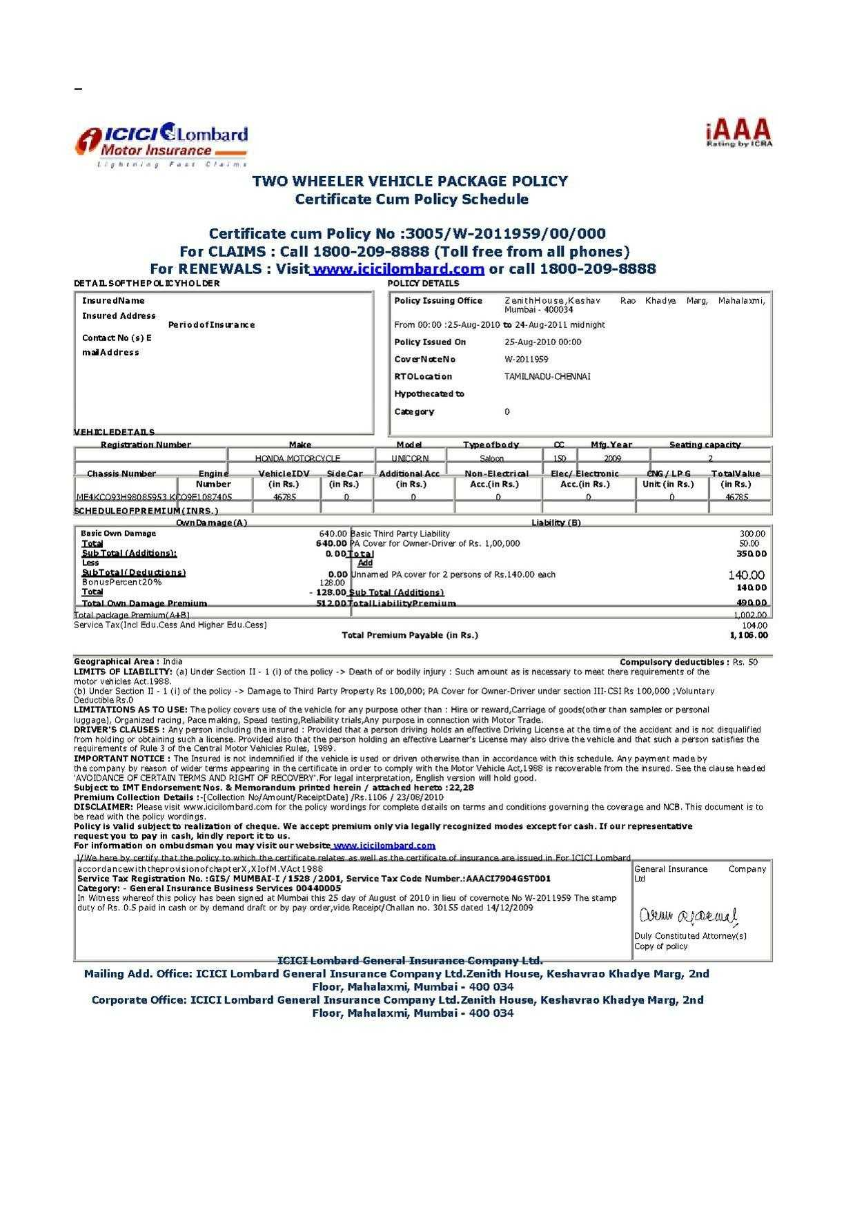 File:vehicle Insurance Certificate In India.pdf - Wikimedia Throughout Auto Insurance Card Template Free Download