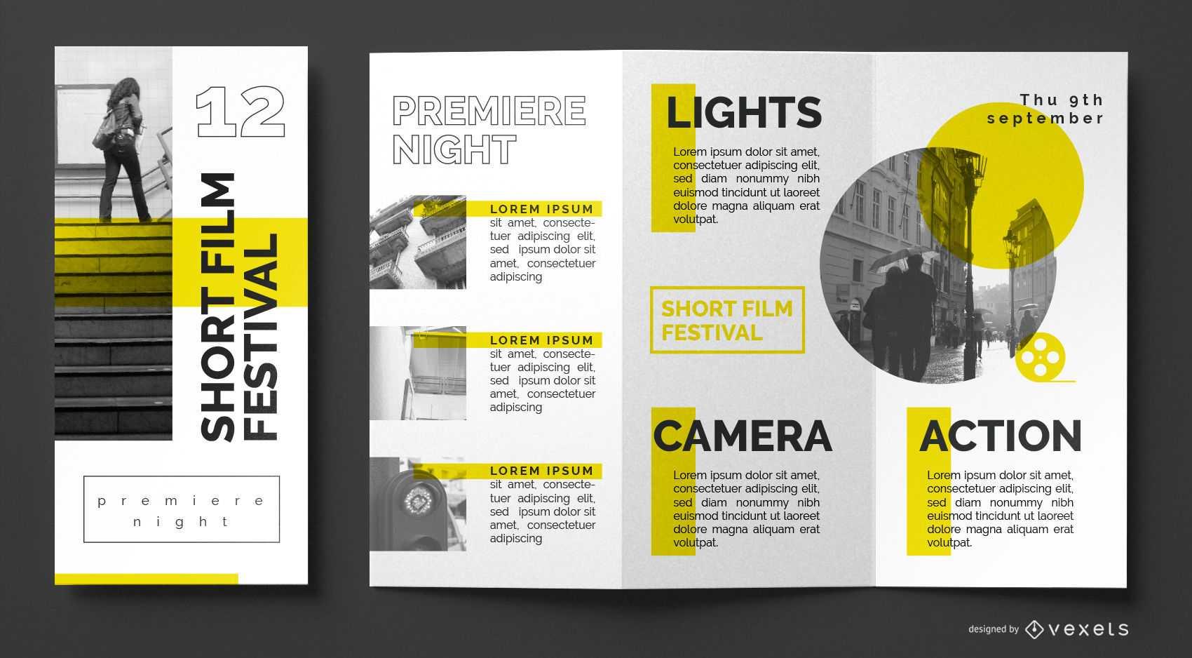 Film Festival Brochure Template - Vector Download With Film Festival Brochure Template