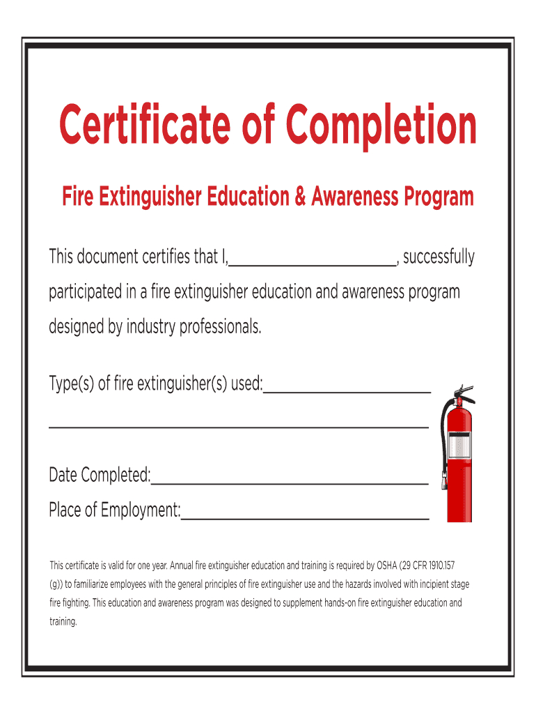 Fire Extinguisher Certificate Pdf - Fill Online, Printable Throughout Fire Extinguisher Certificate Template