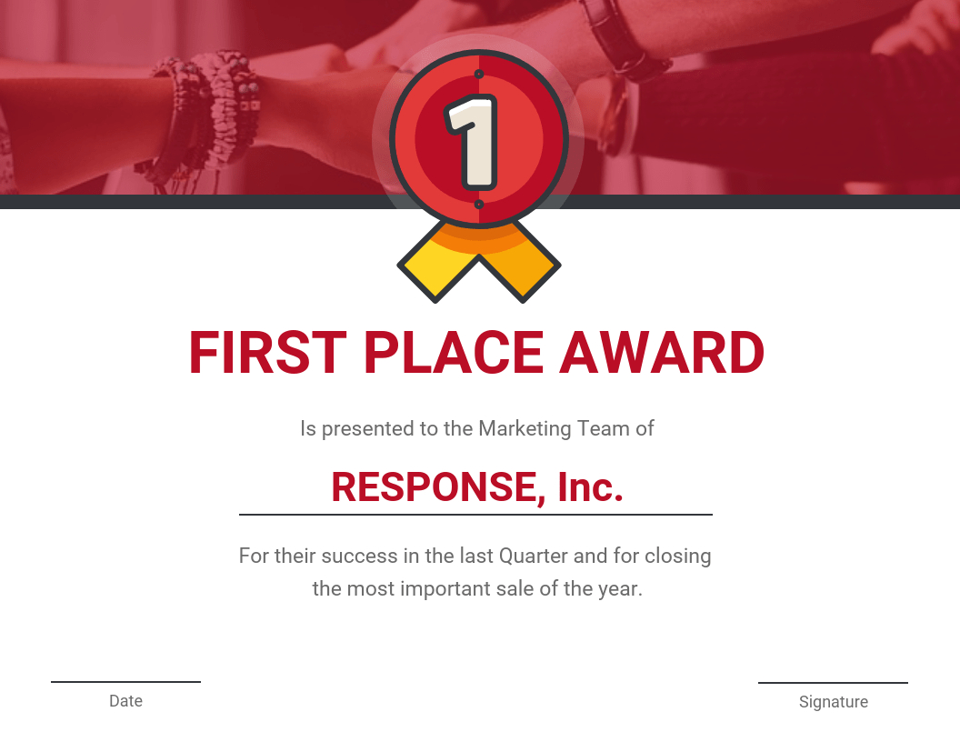 First Place Award Certificate Template Intended For First Place Award Certificate Template