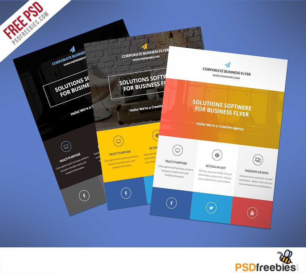Flat Clean Corporate Business Flyer Free Psd | Psdfreebies Regarding Cleaning Brochure Templates Free
