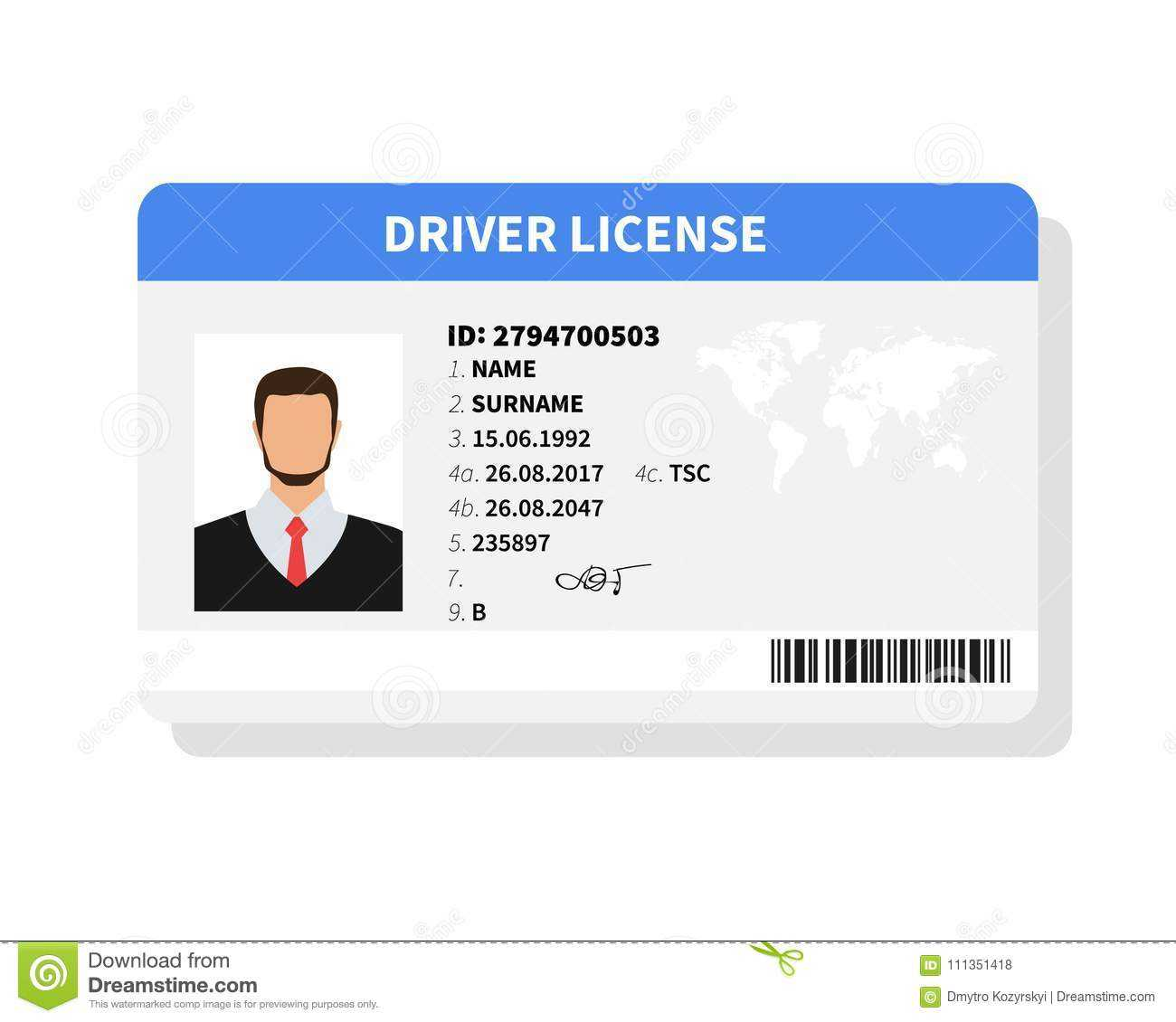Flat Man Driver License Plastic Card Template In Personal Identification Card Template