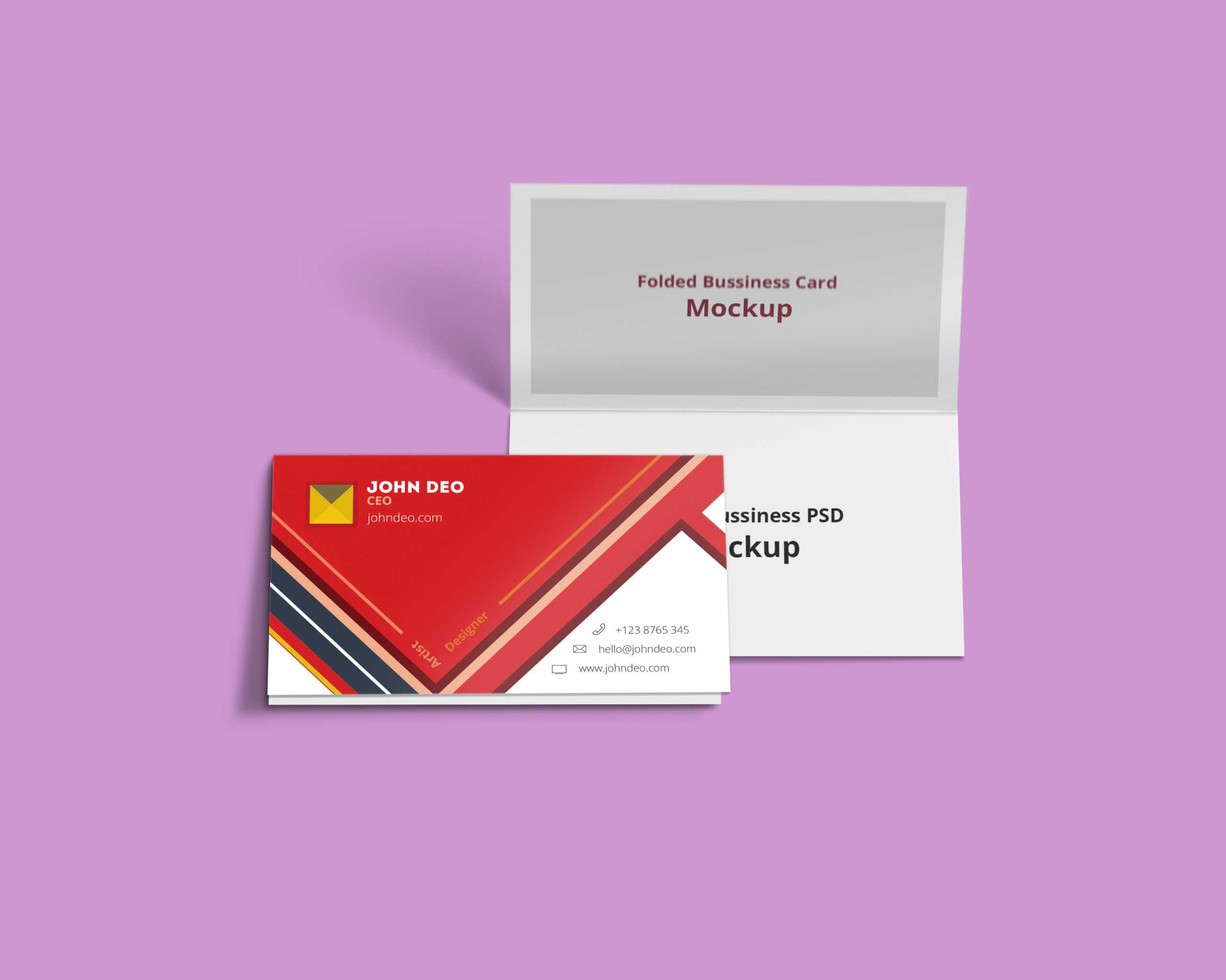 Folded Business Card Psd Mockup - Creativecrunk Inside Fold Over Business Card Template