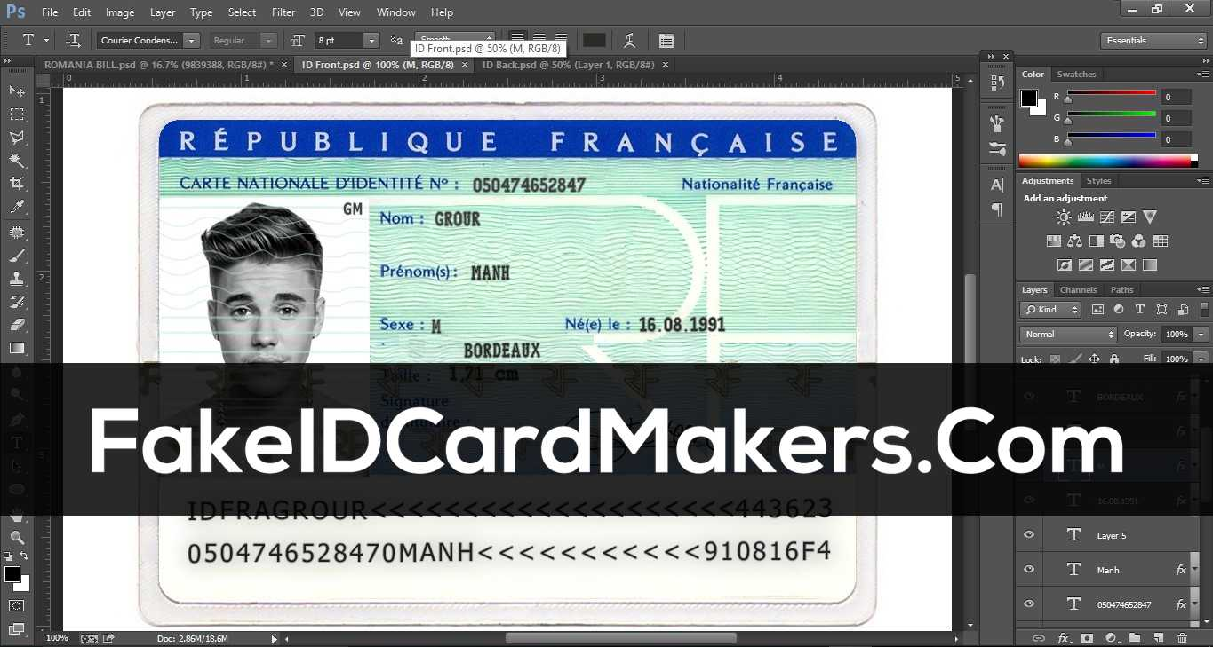 France Id Card Template Psd [Fake Driver License] For French Id Card Template