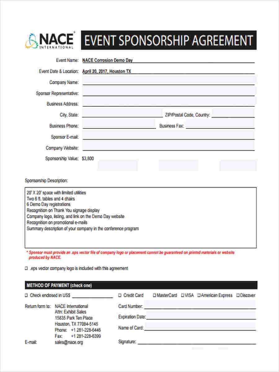 Free 6+ Sample Event Sponsorship Forms In Ms Word | Pdf Within Sponsor Card Template