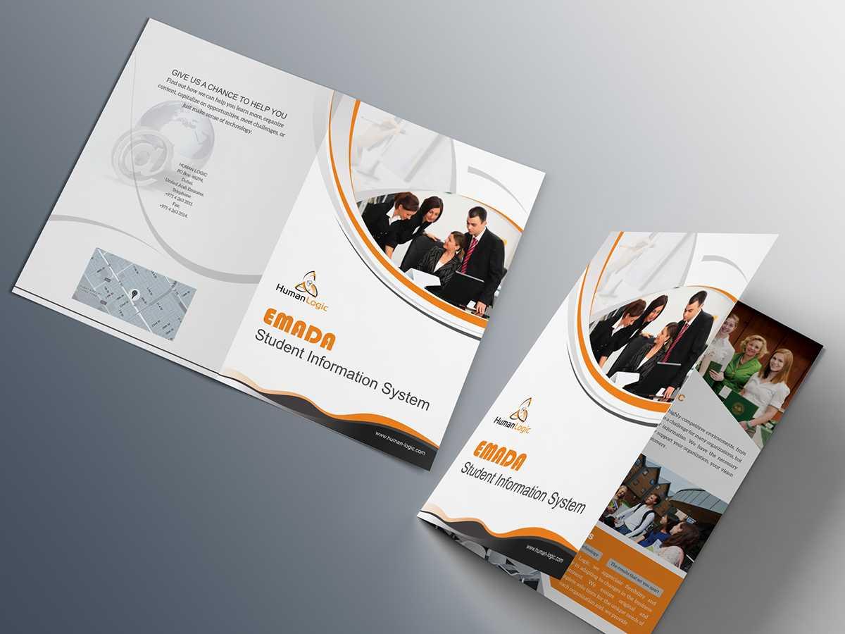 Free Bi Fold Brochure Psd On Behance With Two Fold Brochure Template Psd
