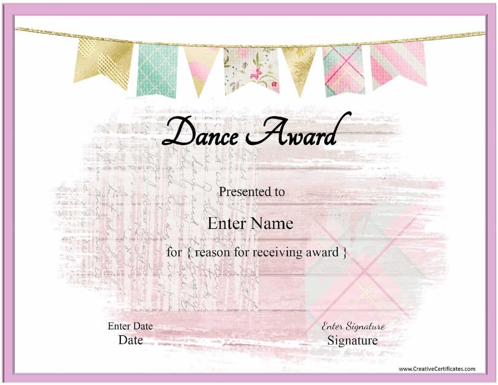 Free Dance Certificate Template - Customizable And Printable Within Dance Certificate Template