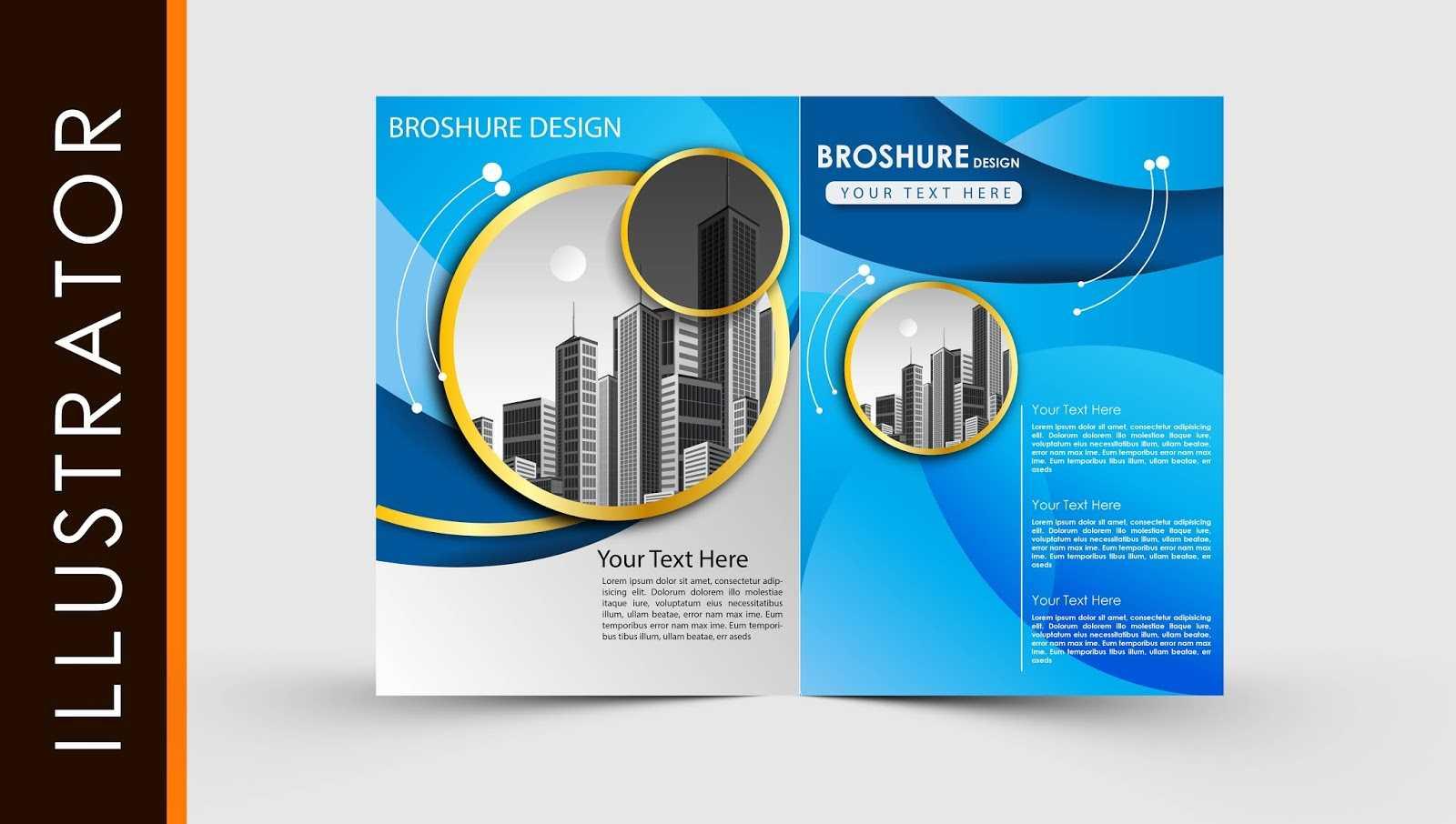 Free Download Adobe Illustrator Template Brochure Two Fold Within Ai Brochure Templates Free Download