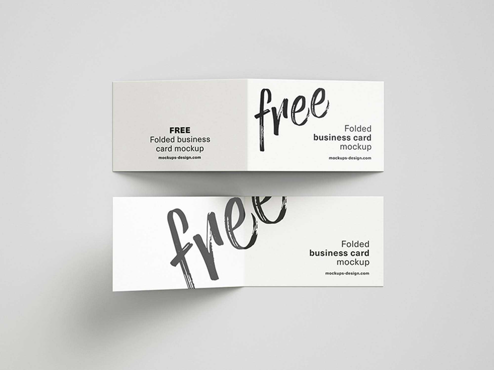 Free Folded Business Cards Mockup (Psd) Regarding Fold Over Business Card Template