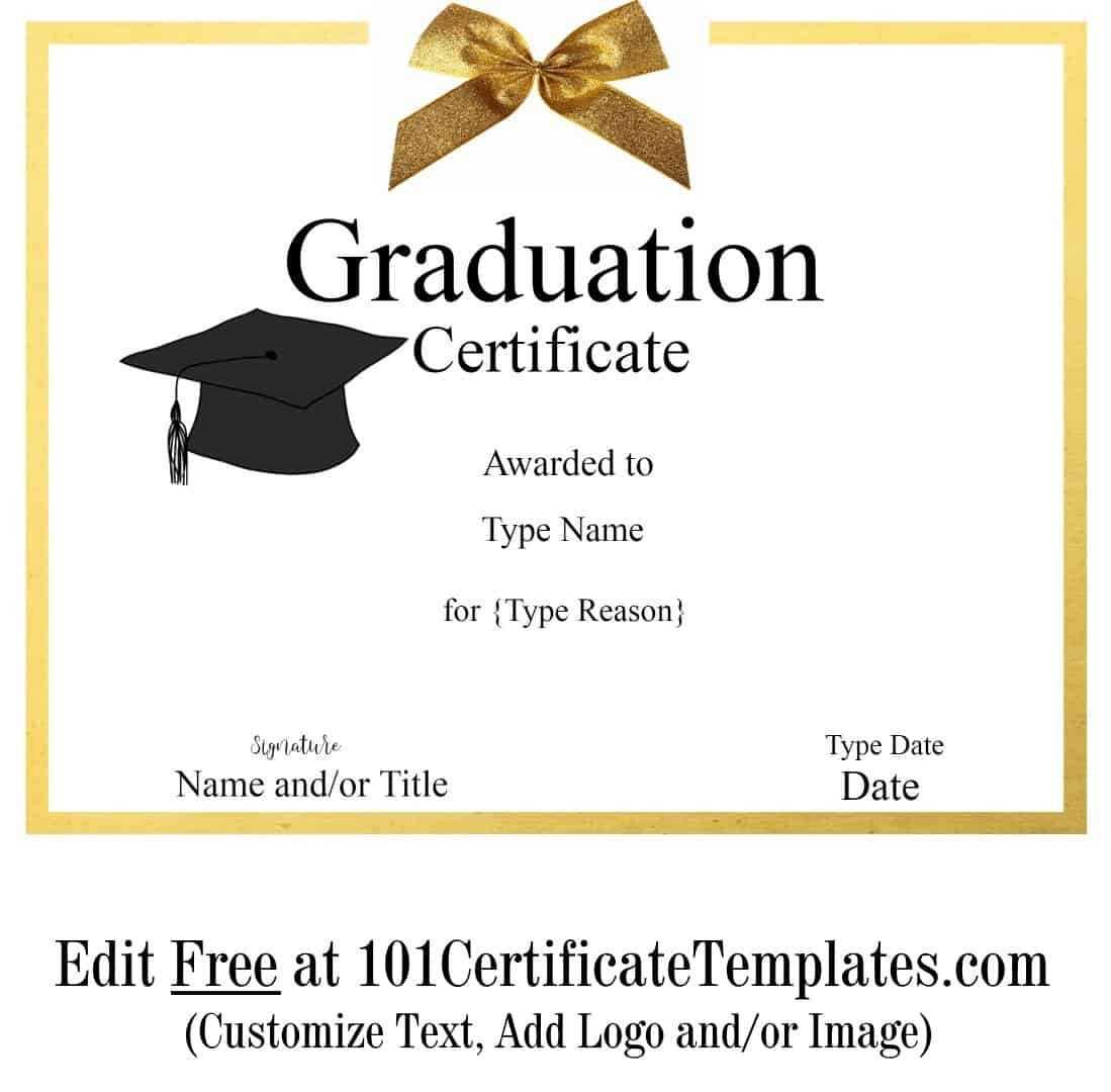 Free Graduation Certificate Template | Customize Online & Print With Free Printable Graduation Certificate Templates