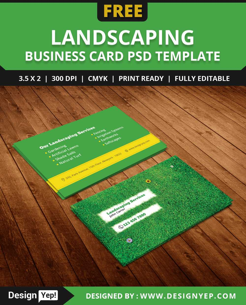 Free Landscaping Business Card Template Psd – Designyep With Landscaping Business Card Template