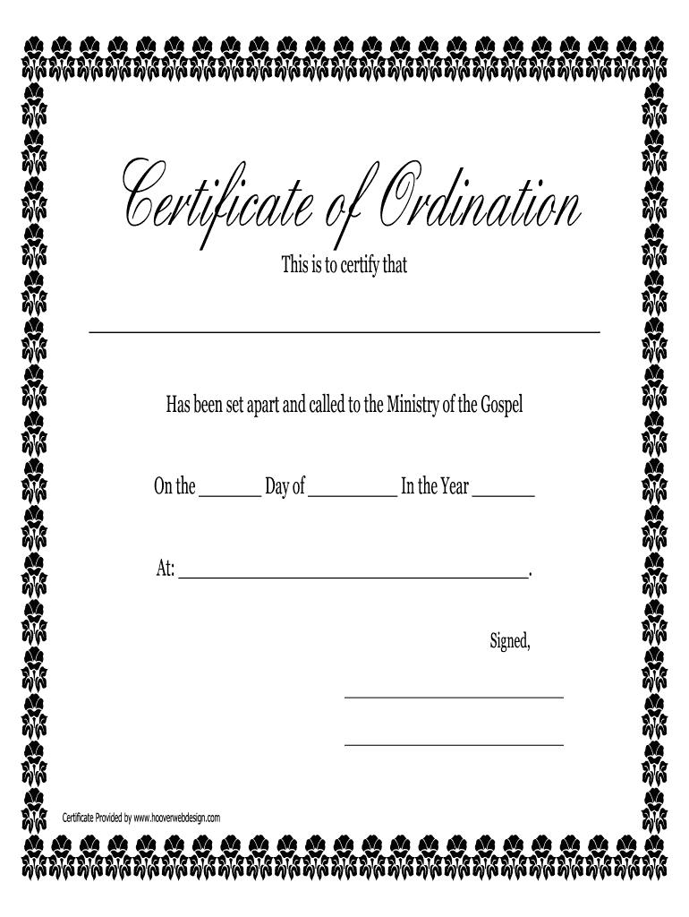 Free Ordination Certificate Template - Great Professional Inside Free Ordination Certificate Template