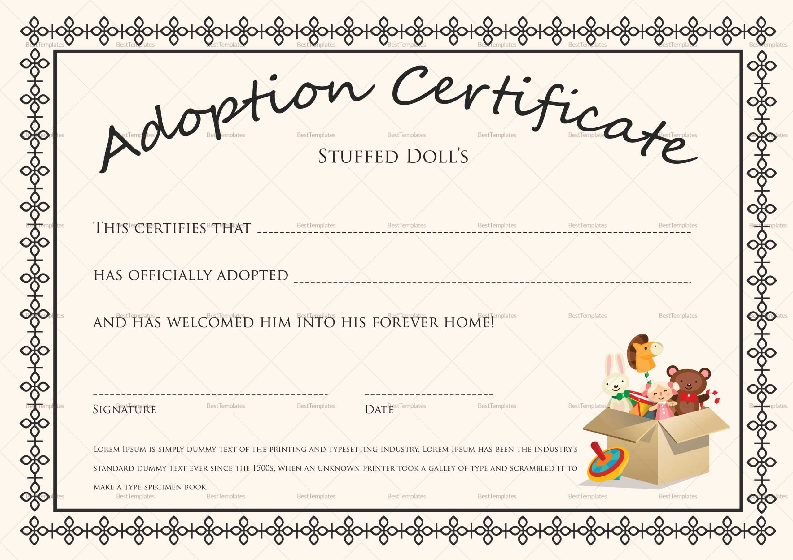 Free Printable Blank Baby Birth Certificates Templates With Regard To Baby Doll Birth Certificate Template