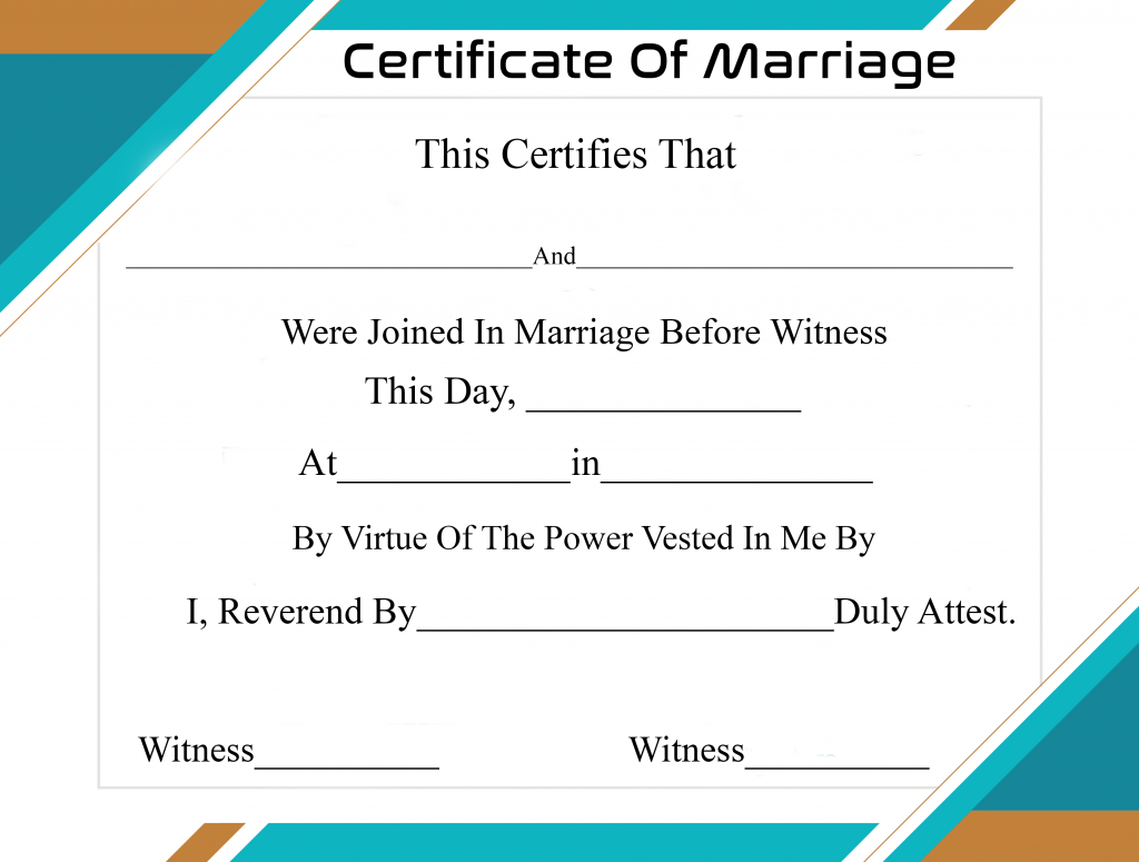 Free Printable Certificate Of Marriage Template For Certificate Of Marriage Template