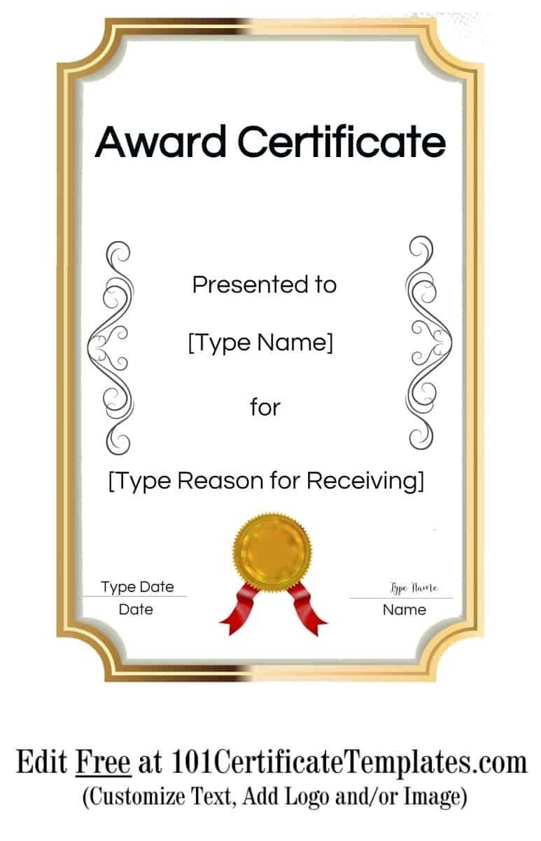 Free Printable Certificate Templates | Customize Online With Regarding Free Printable Blank Award Certificate Templates