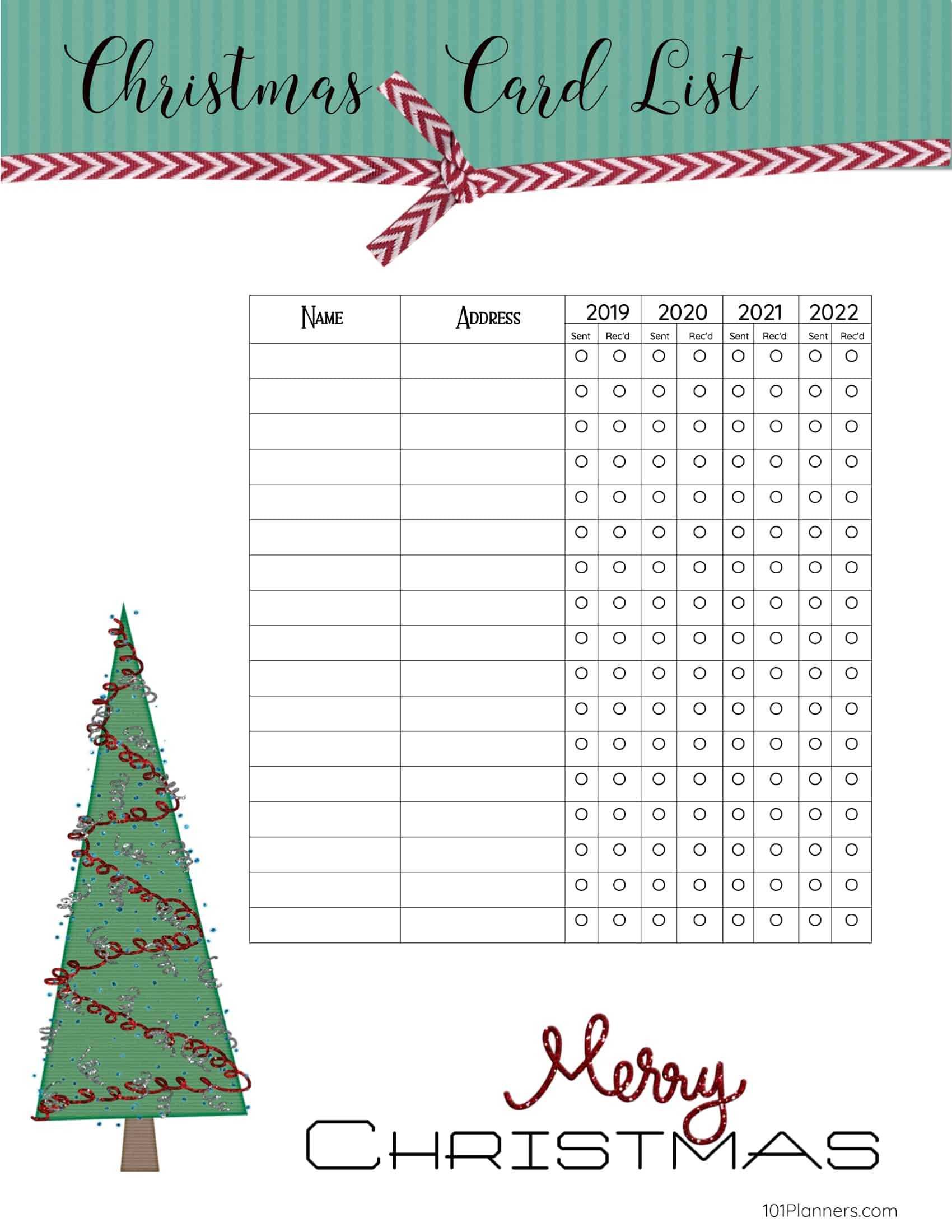 Free Printable Christmas Gift List Template For Christmas Card List Template