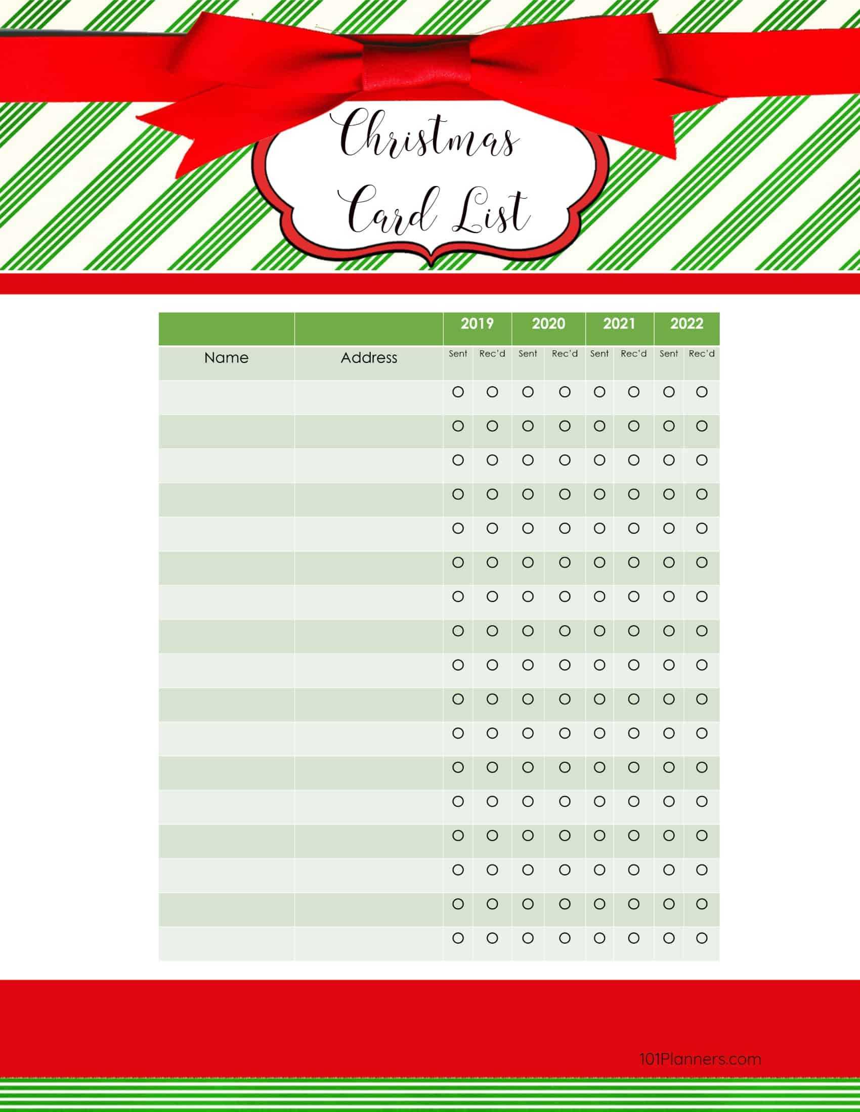 Free Printable Christmas Gift List Template In Christmas Card List Template