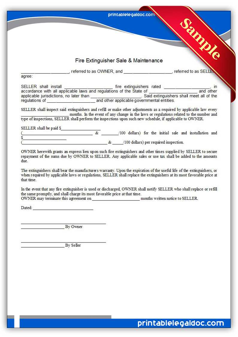 Free Printable Fire Extinguisher Sale & Maintenance Regarding Fire Extinguisher Certificate Template