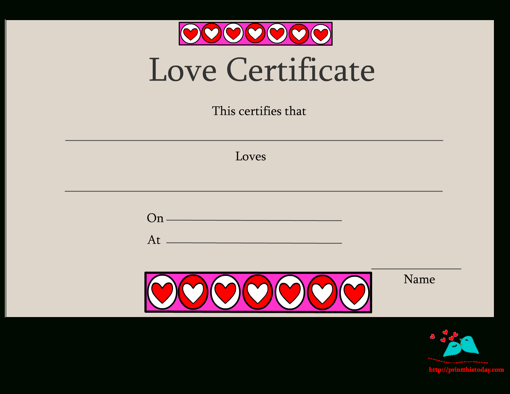 Free Printable Love Certificates Intended For Love Certificate Templates