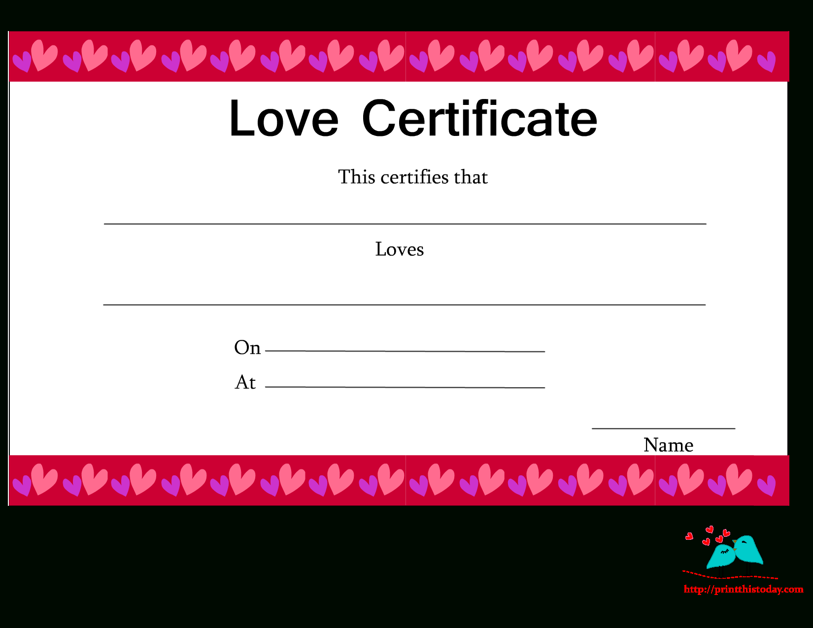 Free Printable Love Certificates Pertaining To Love Certificate Templates