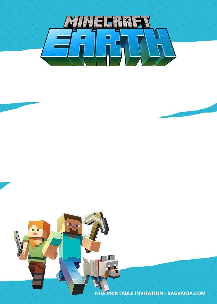 Free Printable Minecraft Birthday Invitation Templates With Minecraft Birthday Card Template