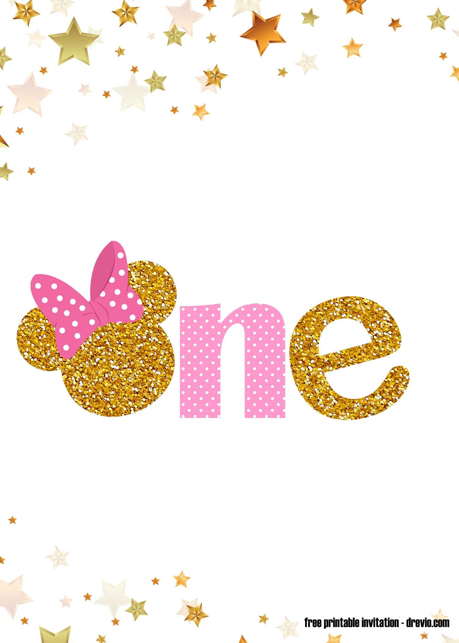 Free Printable Pink And Gold Minnie Mouse 1St Birthday Regarding Minnie Mouse Card Templates