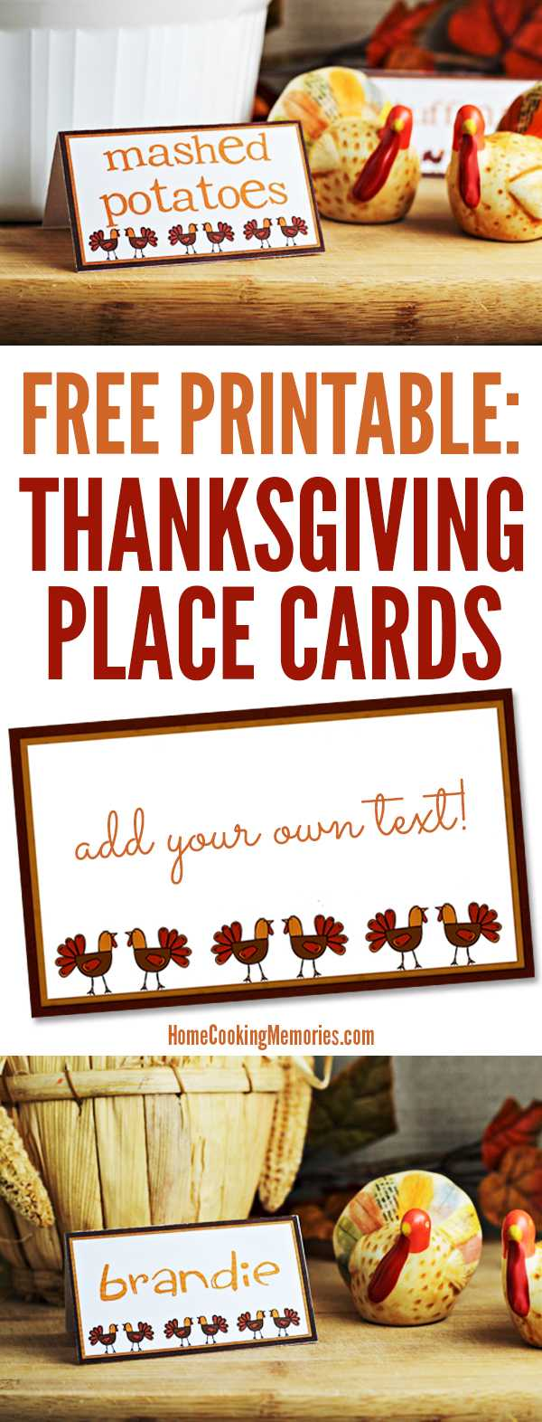 Free Printables: Thanksgiving Place Cards - Home Cooking With Regard To Thanksgiving Place Cards Template
