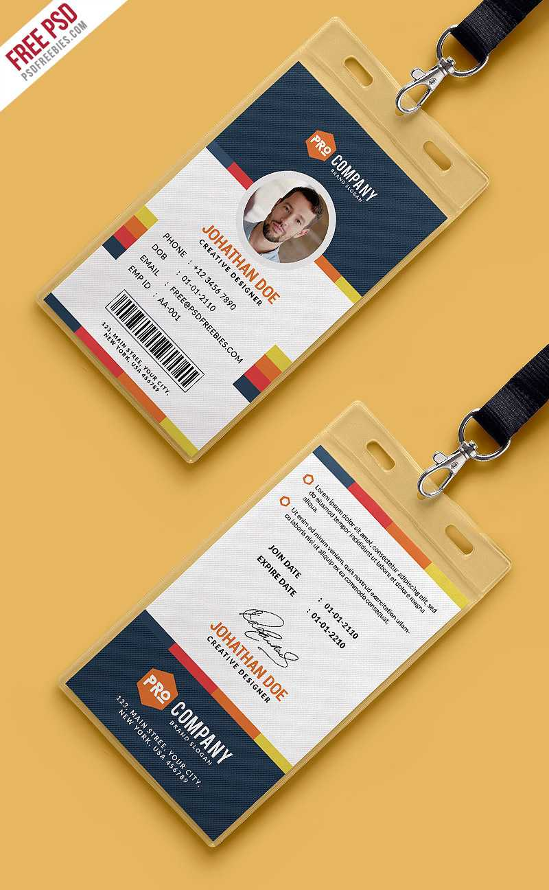 Free Psd : Creative Office Identity Card Template Psd On Behance With Regard To Id Card Design Template Psd Free Download