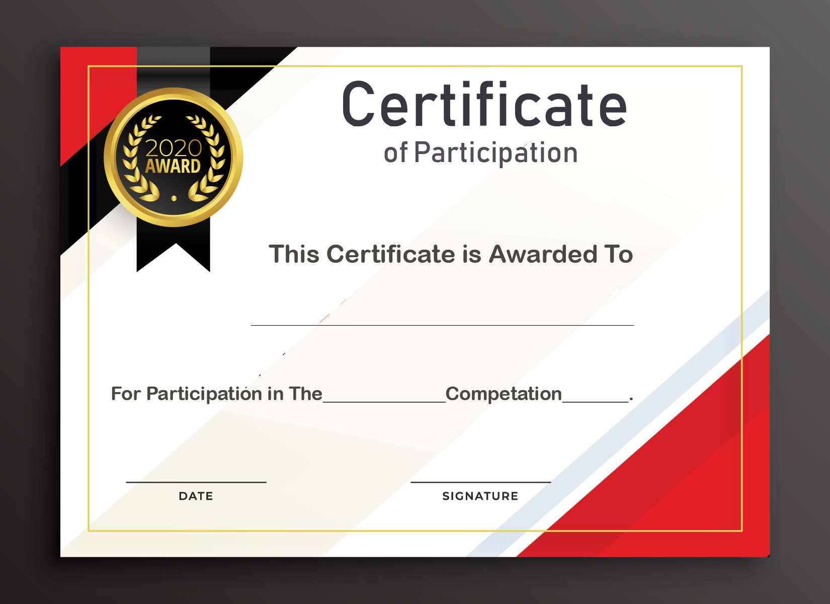 Free Sample Format Of Certificate Of Participation Template Pertaining To Free Templates For Certificates Of Participation