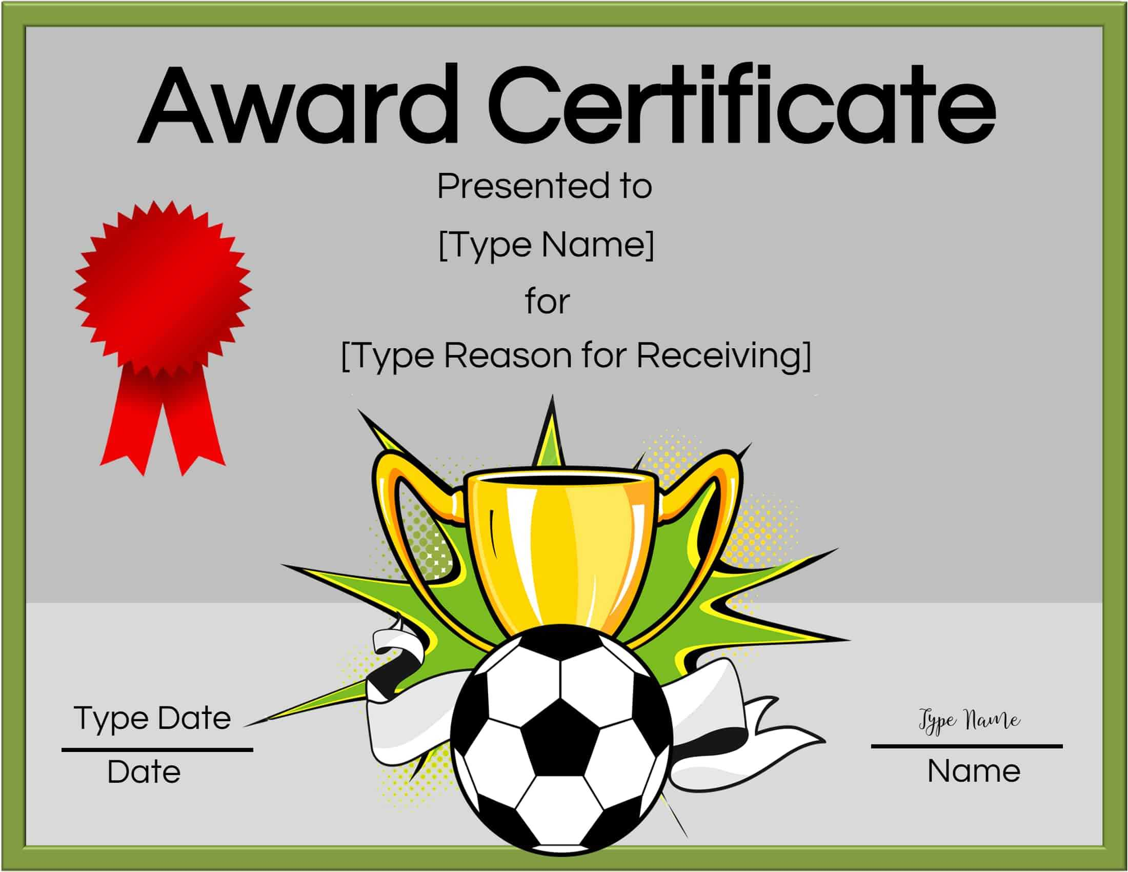 Free Soccer Certificate Maker | Edit Online And Print At Home Pertaining To Soccer Award Certificate Templates Free