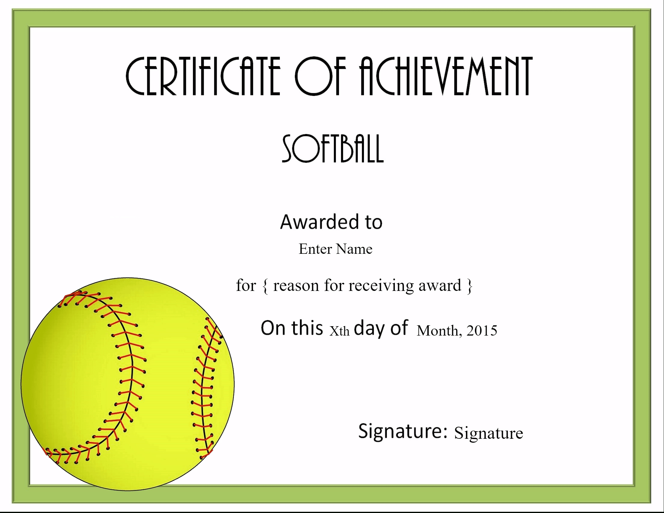 Free Softball Certificate Templates - Customize Online With Regard To Softball Award Certificate Template