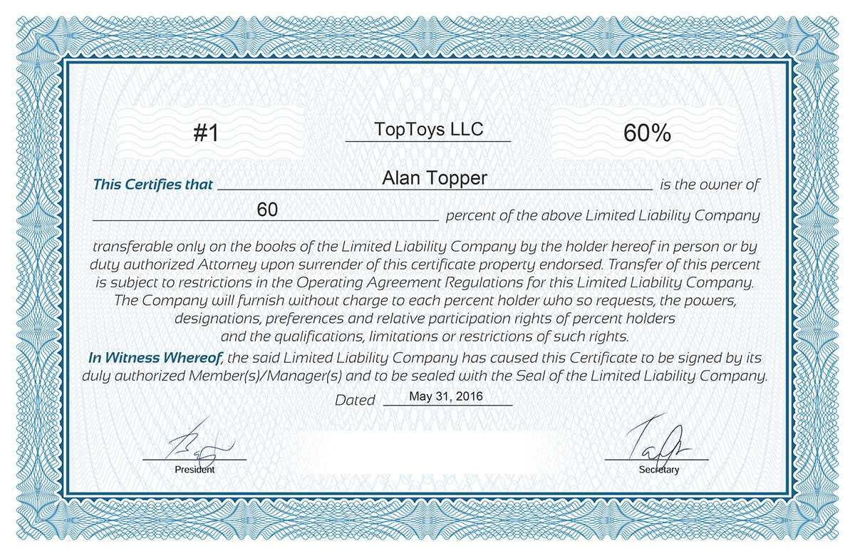 Free Stock Certificate Online Generator Within Llc Membership Certificate Template