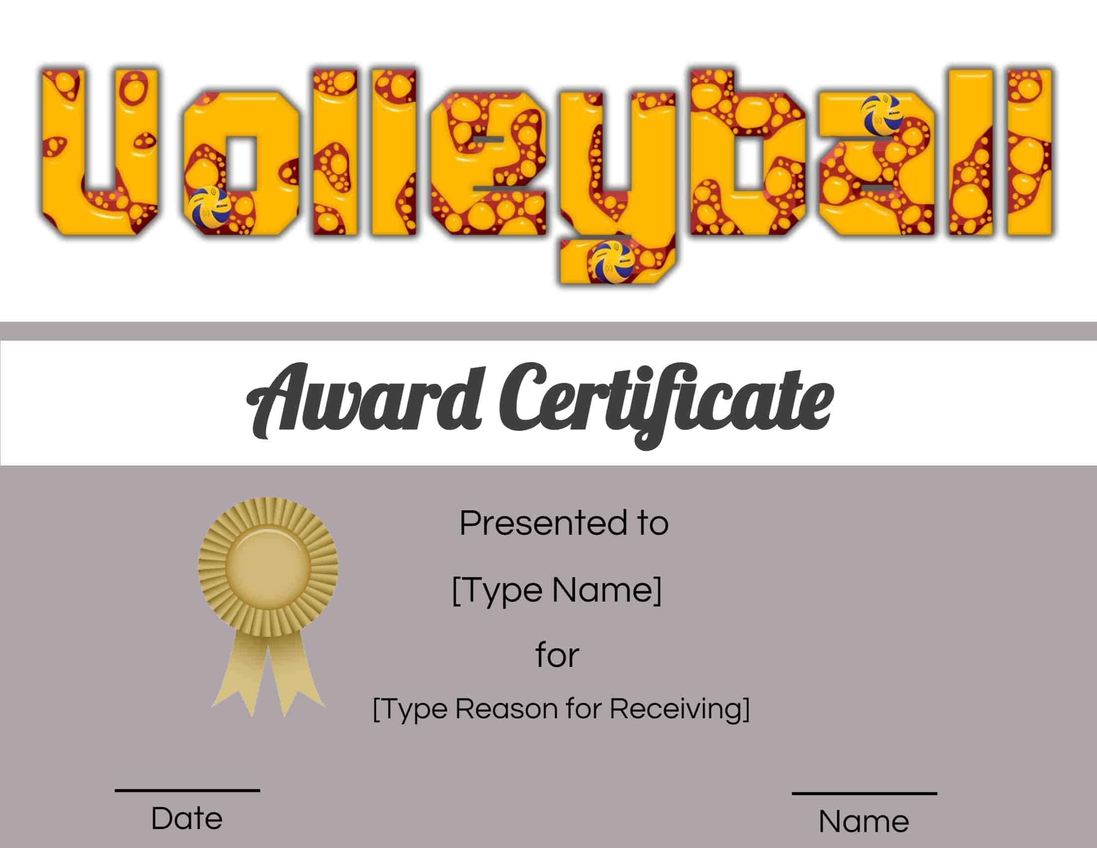 Free Volleyball Certificate | Edit Online And Print At Home Intended For Rugby League Certificate Templates