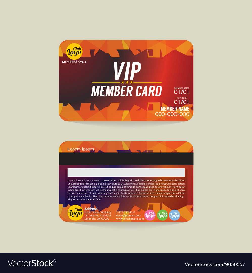 Front And Back Vip Member Card Template Pertaining To Template For Membership Cards