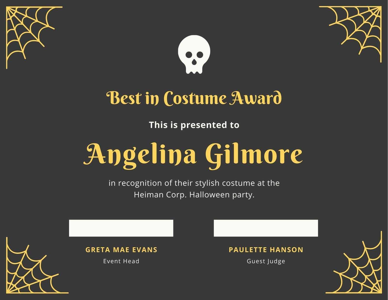 Fun Halloween Best Costume Certificate - Templatescanva Intended For Halloween Certificate Template