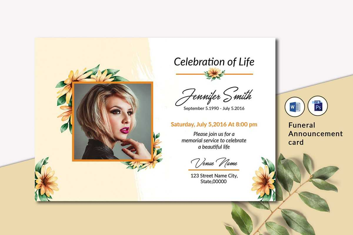 Funeral Announcement Invitation Card Template Pertaining To Funeral Invitation Card Template