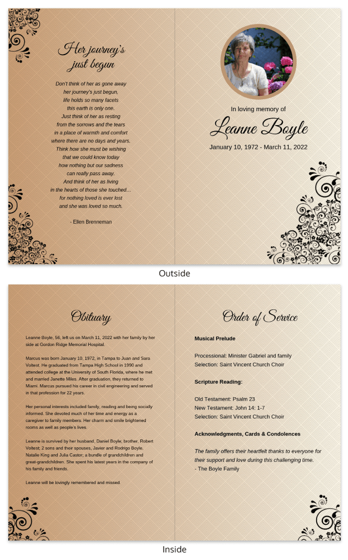 Funeral Program Template Within Memorial Brochure Template