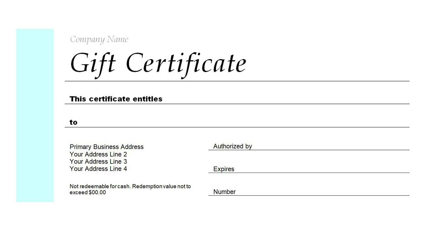 Generic Gift Certificate Template Free In Generic Certificate Template